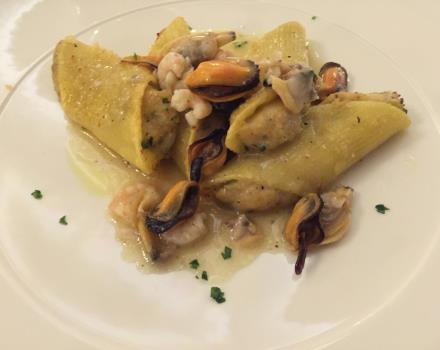 One of our specialties: spars stuffed with seafood sauce