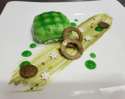 The desserts like the pistachio semifreddo at the 4 star Best Western Hotel Perla del Porto